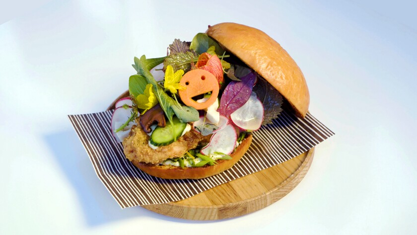 The fried chicken sandwich that emerged from a mind-meld between Jordan Kahn of Vespertine and Zaiyu Hasegawa of Den in Japan