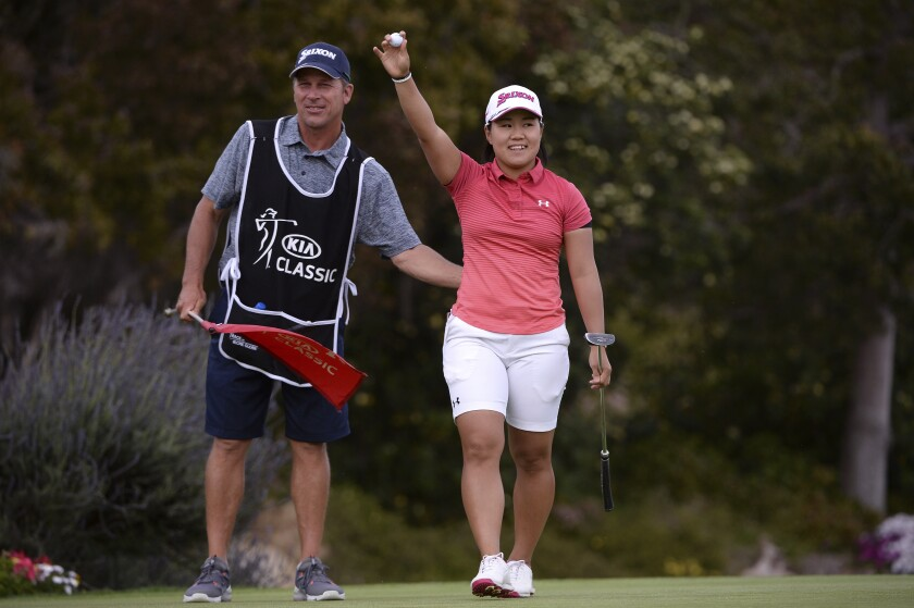 Nasa Hataoka, of Japan, reacts after winning the Kia Classic LPGA golf tournament, Sunday, March 31, 2019, in Carlsbad, Calif.