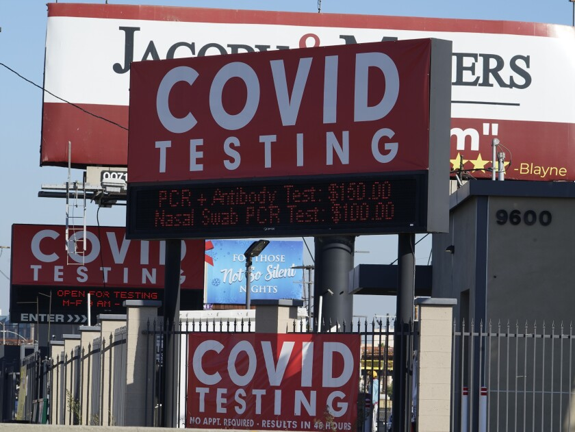 Advertisements for COVID-19 testing