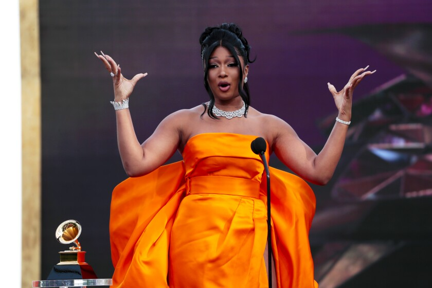 Megan Thee Stallion accepts the award for Best New Artist at the 63rd Grammy Award outside Staples Center.