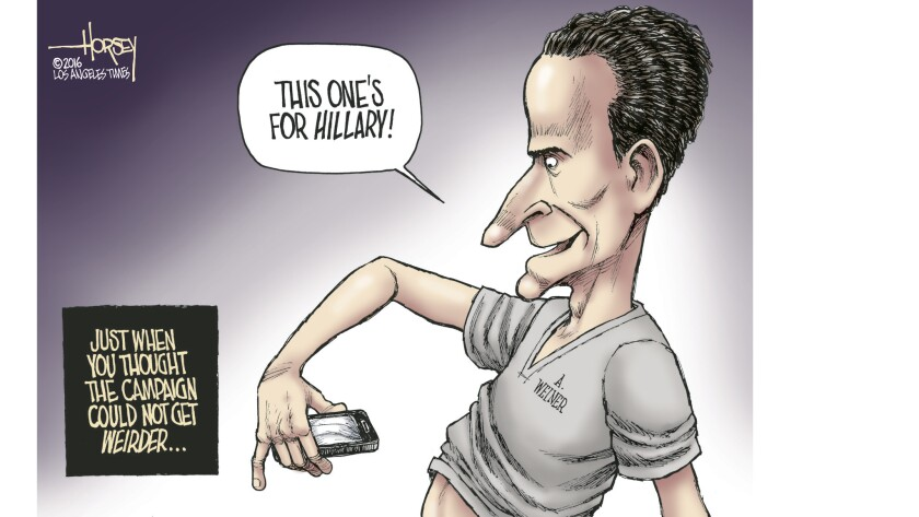 Sexting savant Anthony Weiner exposes himself to the Clinton campaign.