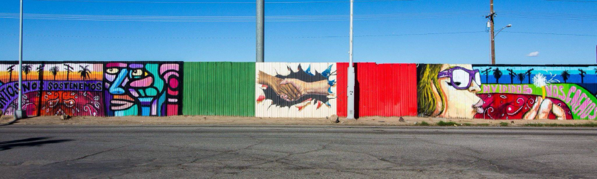 The border wall in between Mexicali, Baja California, and Calexico, California in 2017.