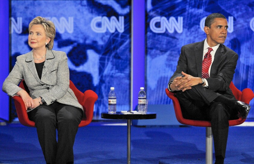 Hillary Rodham Clinton and Barack Obama at a Las Vegas debate before Nevada's acrimonious 2008 Democratic presidential caucuses.