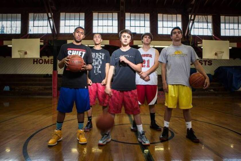 At Harvard-Westlake, alumnus Jason Collins' decision to become the first active NBA player to announce he is gay is cause for pride and celebration by members of the basketball team. From left are Michael Sheng, 17, Alex Copeland, 16, Spencer Perryman, 16, Sam Sachs, 17, and Eric Loeb, 17.