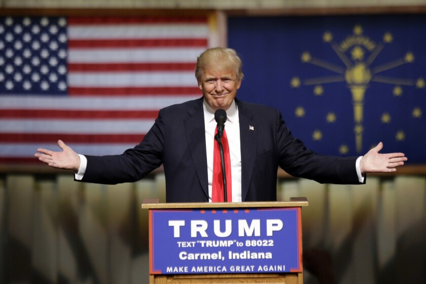 Republican presidential candidate Donald Trump speaks during a rally in Carmel, Ind., on Monday.