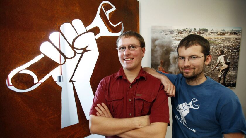 SAN LUIS OBISPO, CA - NOVEMBER 20, 2012: Co-founders of iFixit Kyle Wiens CEO, left, and Luke Soul