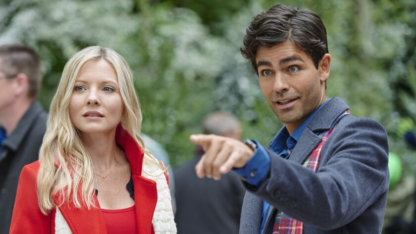 "Kaitlin Doubleday and Adrian Grenier in ""Christmas at Graceland: Home for the Holidays"" on Hallmark."