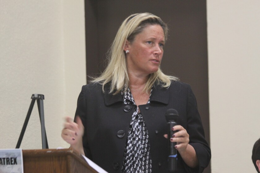 La Jolla community activist Cindy Greatrex is pictured here leading a past meeting of the La Jolla Community Planning Association, a community board on which she also formerly served as president. Greatrex is accused of stealing more than $67,000 from La Jolla Recreation Center funds.
