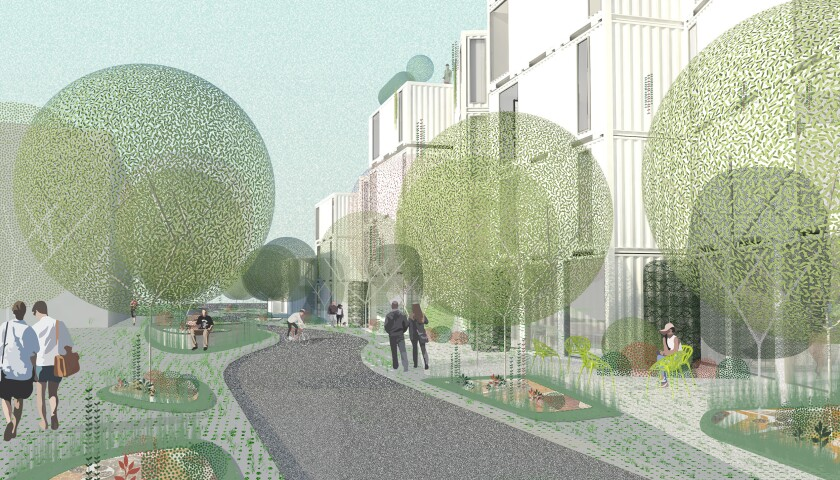 A rendering shows people walking amid a small parkway that borders a three-story shipping container structure
