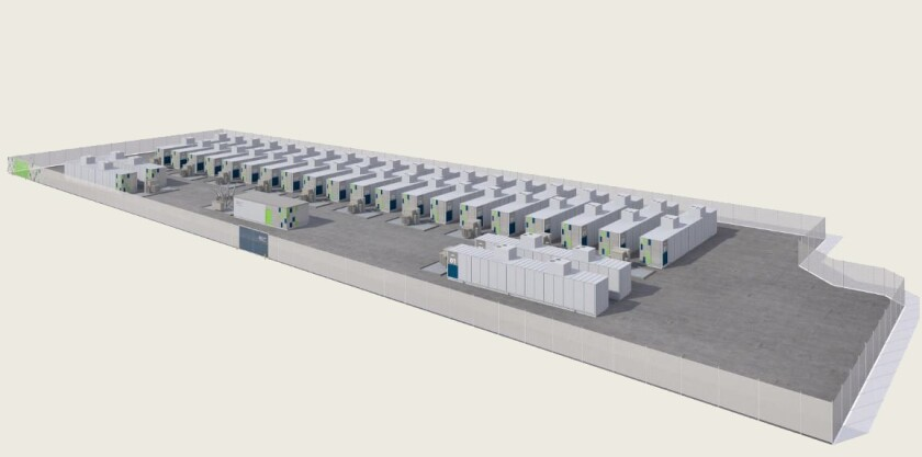 A rendering of the proposed SDG&E substation in Escondido that would employ lithium-ion battery energy storage of 30 megawatts/120 megawatt-hours.