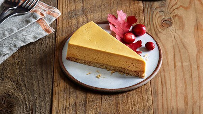 Vegan brand Daiya has created its store-bought, frozen, holiday-themed 'Pumpkin Spice Cheezecake'. T