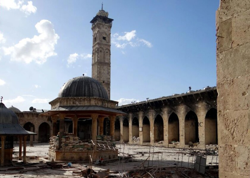 The minaret of the Great Umayyad Mosque in Aleppo, Syria, on March 6, 2013. The structure has since been destroyed by shelling the country's civil war.