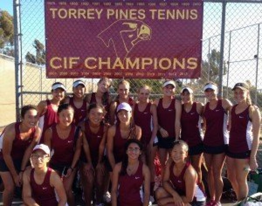 The Torrey Pines High School girls varsity tennis team is undefeated. Photo courtesy of Anna Scipione.
