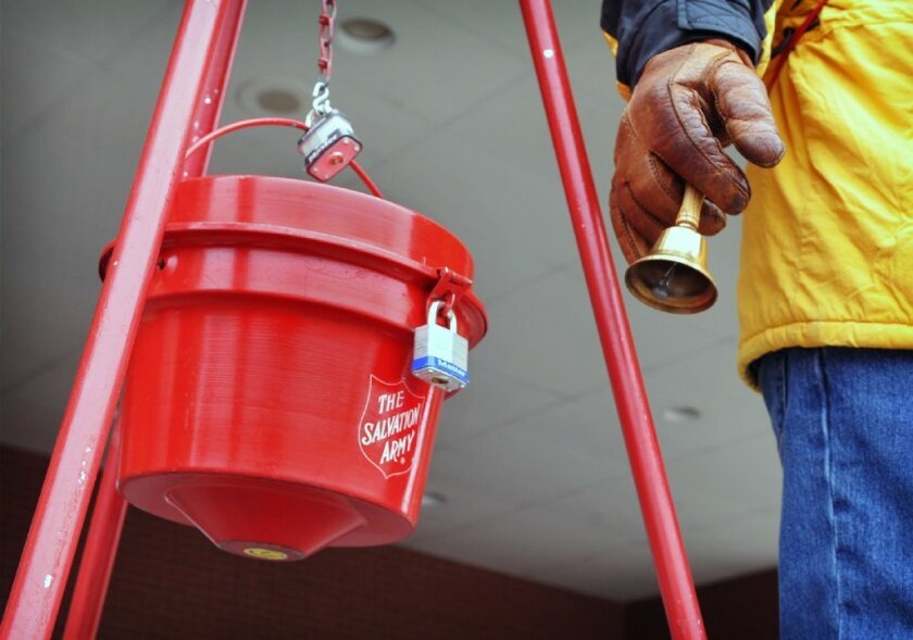 A Salvation Army donation kettle in Wichita Falls, Texas. A new UCLA report shows that fewer than half of all L.A. County residents give to charity.