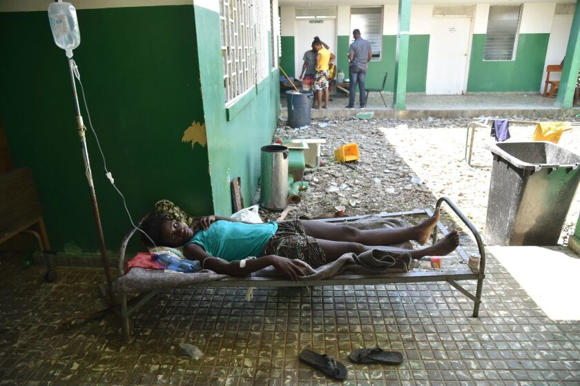 A cholera patient is treated at the Les Anglais health center in Les Cayes in southwest Haiti.