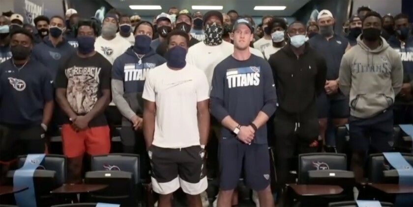In a screenshot from a Zoom call, Tennessee Titans players speak about the decision to cancel practice.