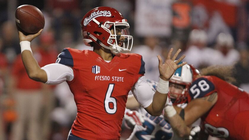 Fresno State quarterback Marcus McMaryion leads the Bulldogs, who were the nation's most improved team last season. Fresno State won 10 games in 2017 after winning just one the year before. The Bulldogs are picked to repeat as West Division champions in the Mountain West.