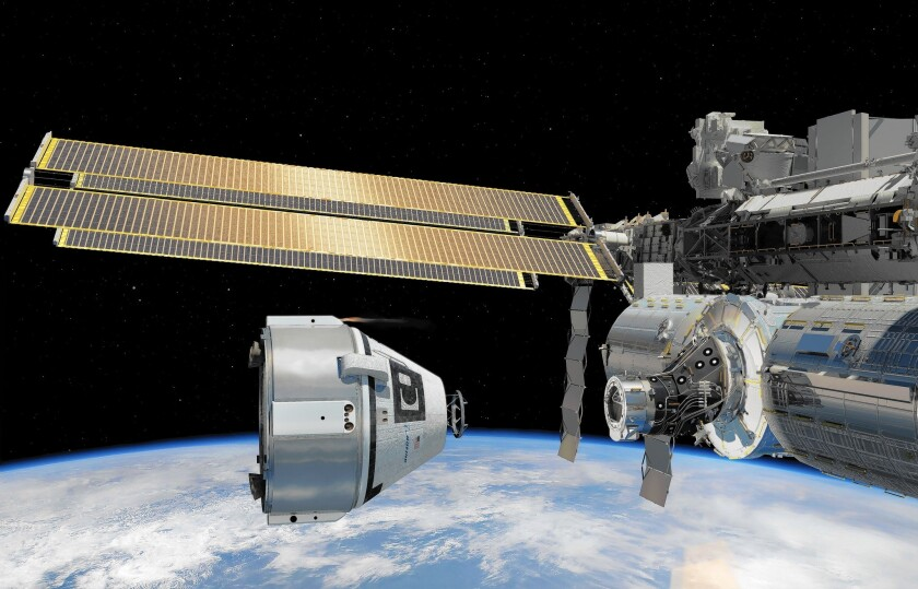 Boeing's CST-100 spacecraft is shown in an artist's rendering. The company won a $4.2-billion NASA contract to transport U.S. astronauts to and from the International Space Station.