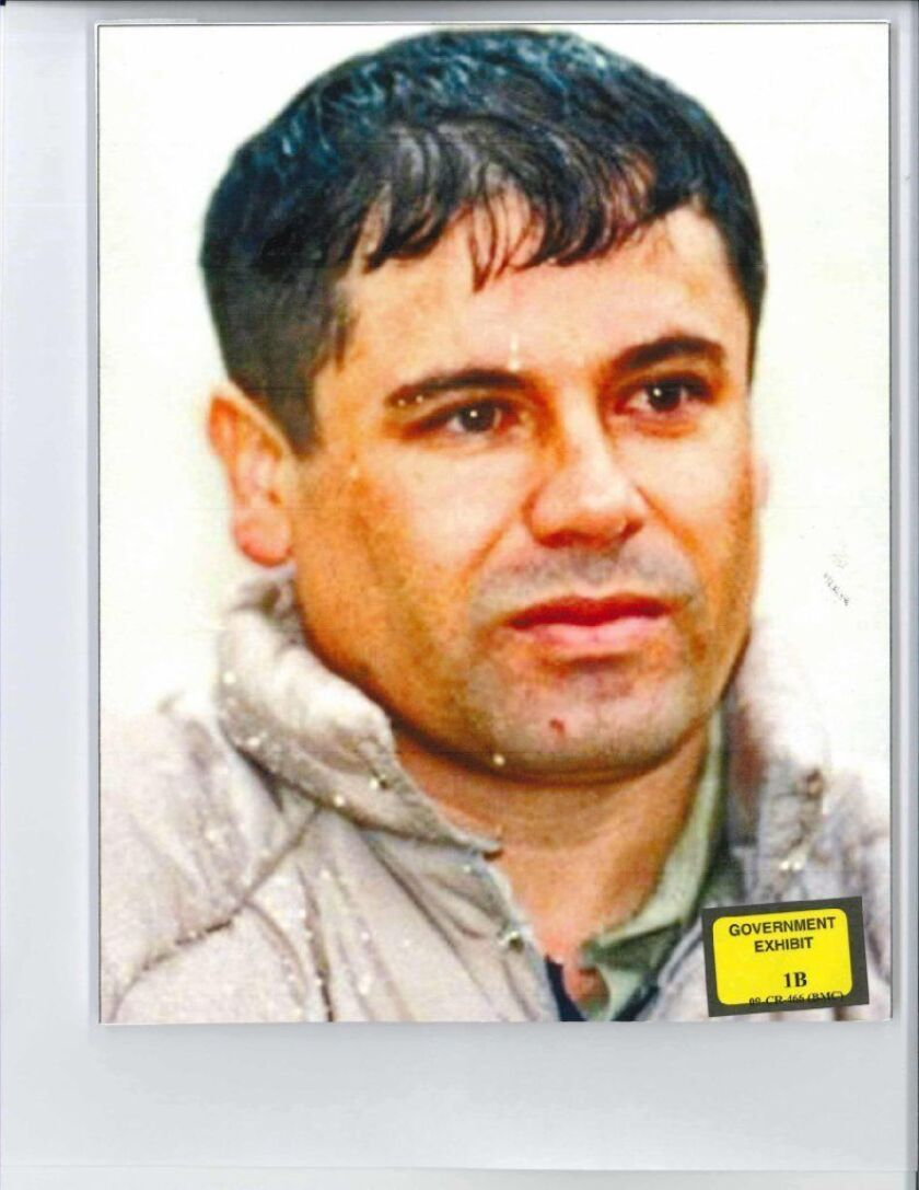 This undated handout photograph obtained from Brooklyn federal court on November 26, 2018, shows a photo of Mexican druglord Joaquin (El Chapo) Guzman, presented to the jury during his trial in Brooklyn federal court.