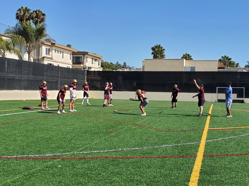 The Bishop's School Knights practice for their Aug. 20 game against La Jolla High School.