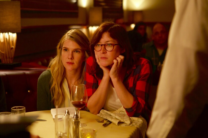 """Actress Lily Rabe and director Julia Hart are shown in a behind-the-scenes shot from the making of """"Miss Stevens."""" The film had its world premiere at the 2016 South by Southwest Film Festival."""