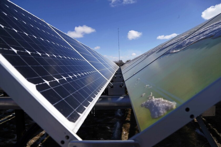 Solar power generation is one of the measures cited in a report from Next 10, a nonprofit based in San Francisco, that hails California as the nation's leader in green energy innovation. (AP Photo/Jim Mone)