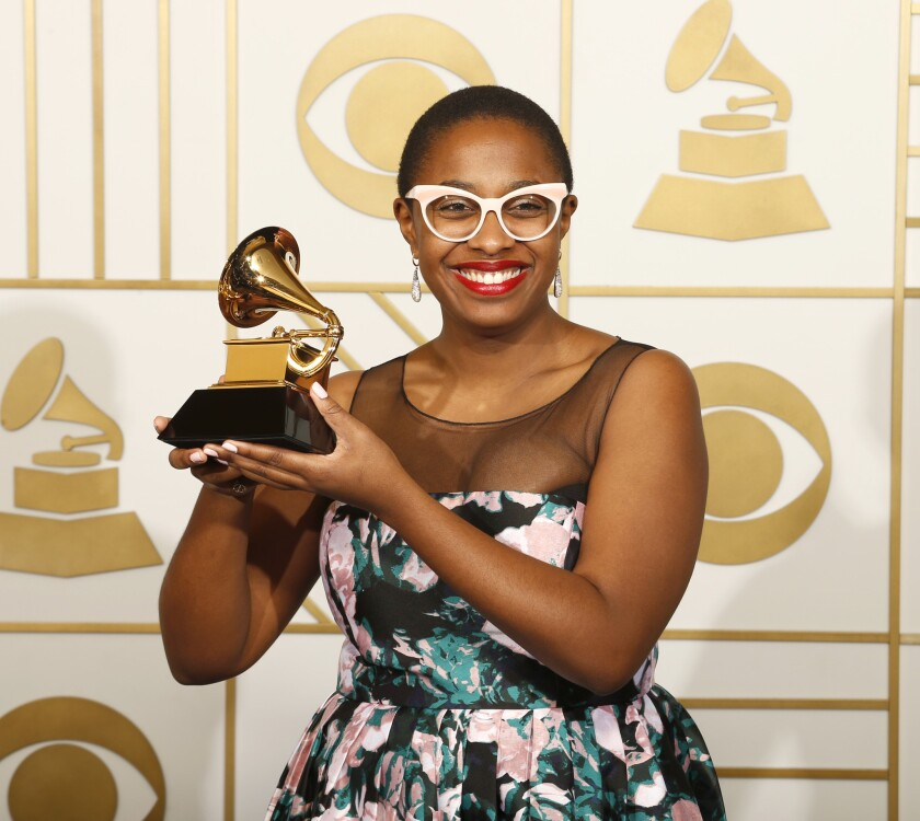 Jazz vocal album winner Cécile McLorin Salvant backstage at Staples Center at the Grammys.