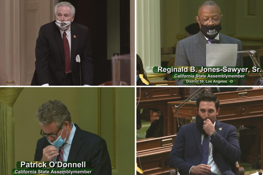 State Sen. Jim Nielsen, Assembly members Reginald B. Jones-Sawyer Sr., Ian Calderon and Patrick O'Donnell