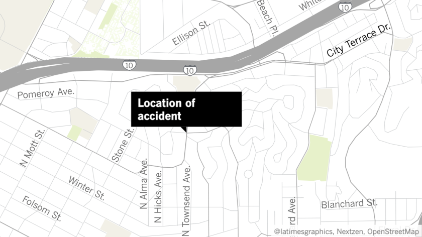 A map shows the site of the fatal Metro bus accident in East Los Angeles.