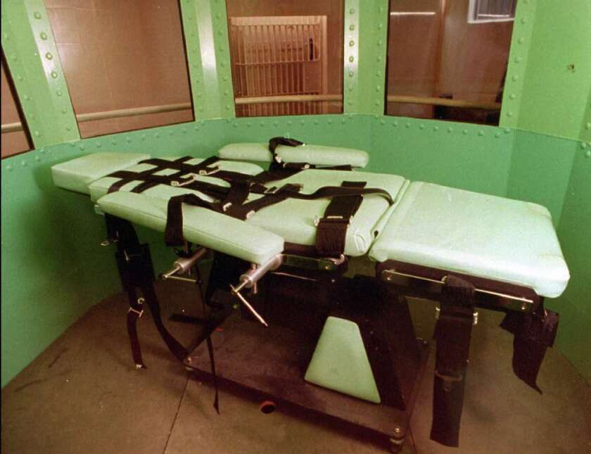 This 1996 photo by the California Department of Corrections shows the execution chamber and the lethal injection table at San Quentin State Prison.