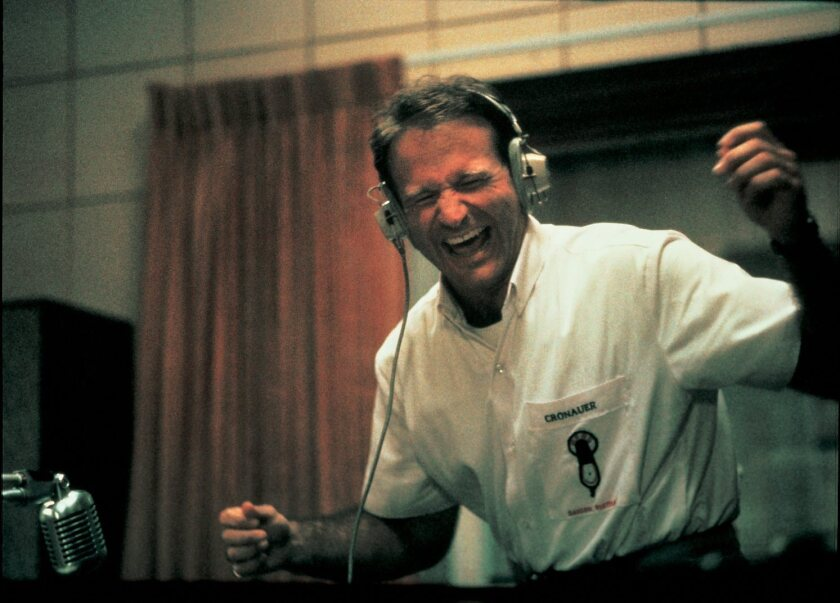 "Robin Williams in the 1987 film ""Good Morning, Vietnam."" He played U.S. Armed Forces Radio service DJ Adrian Cronauer. Williams died at 63 on Aug. 11, 2014."