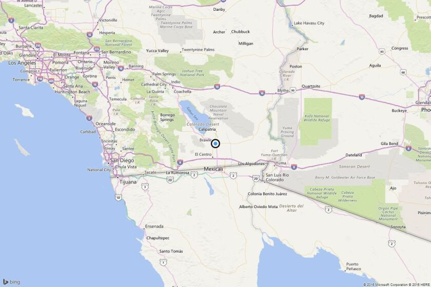 A map showing the location of the epicenter of Saturday afternoon's quakes near Brawley, Calif.
