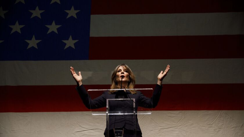 Author Marianne Williamson speaks during the announcement of her presidential campaign at the Saban