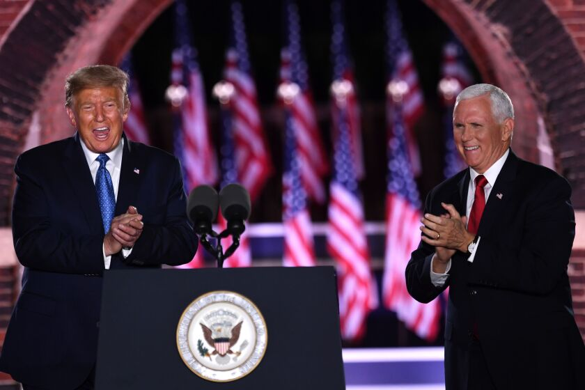 Donald Trump and Mike Pence at the 2020 Republican National Convention