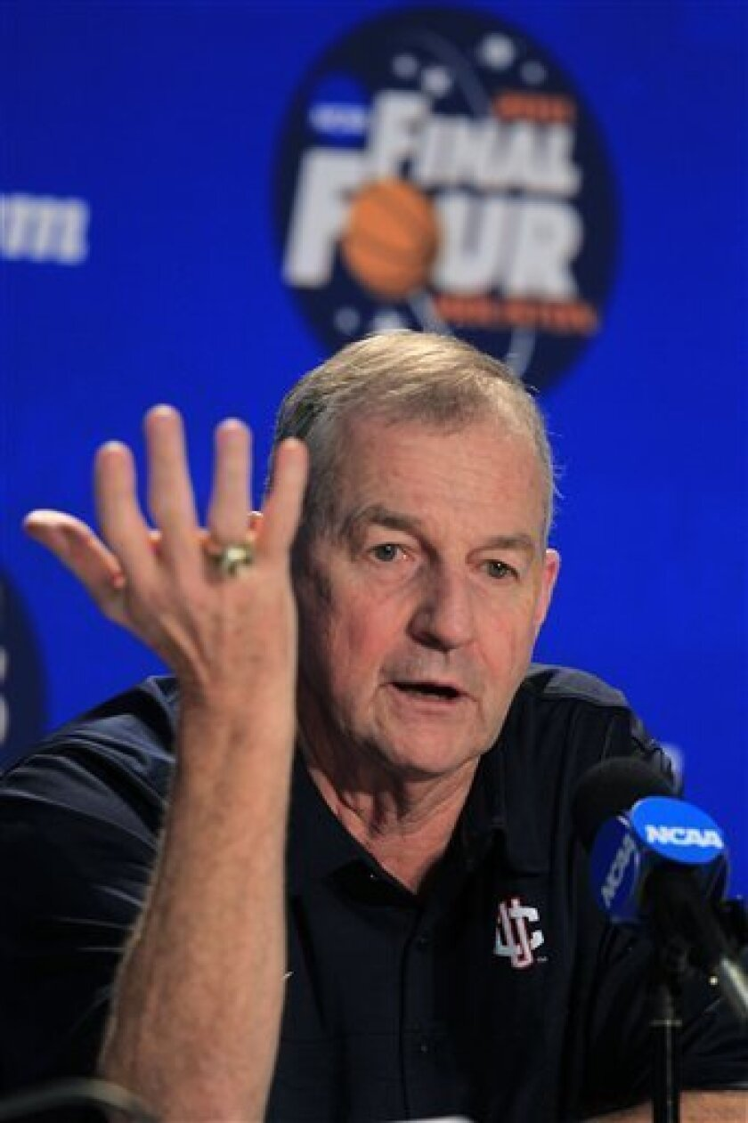 Connecticut head coach Jim Calhoun speaks during a news conference before a practice session for the men's NCAA Final Four college basketball championship game Sunday, April 3, 2011, in Houston. Connecticut plays Butler in the championship game Monday night. (AP Photo/Mark Humphrey)
