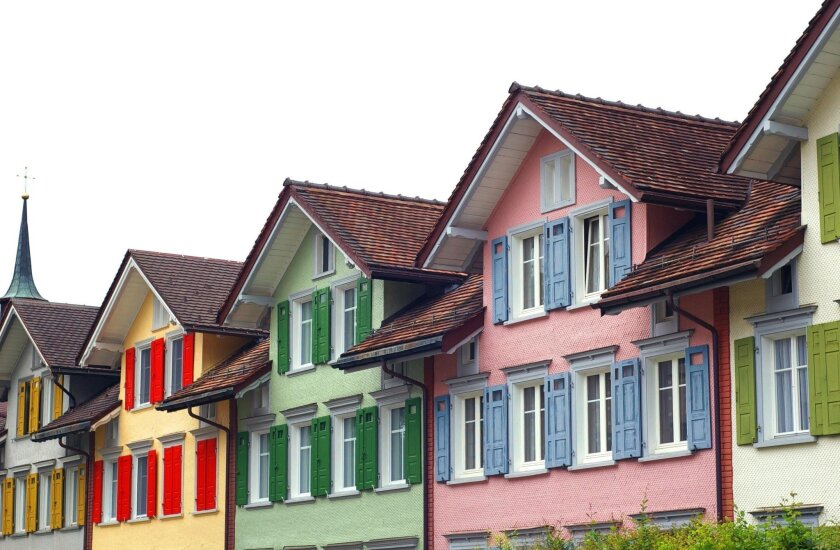 Vibrant house along with boutiques and cafes line the car-free main square of Appenzell.  Marlise Kast-Myers photo