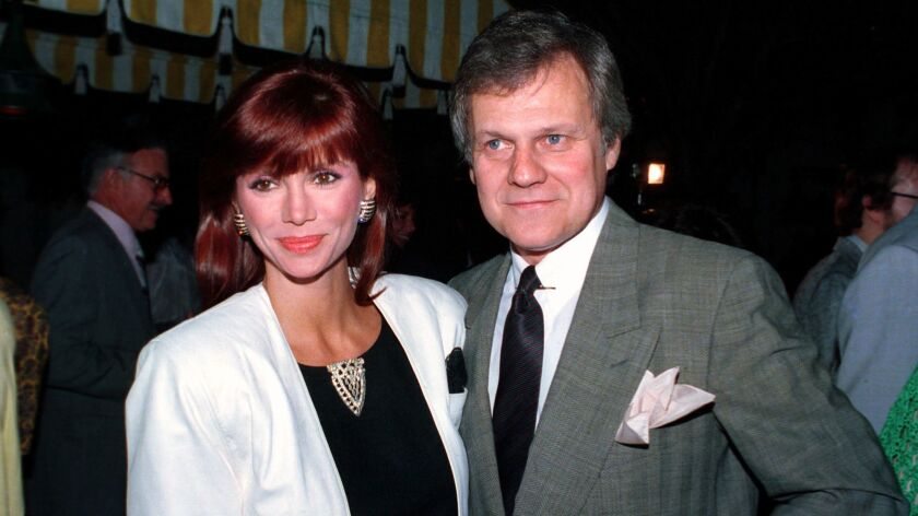 FILE - This June 13, 1986 file photo shows actress Victoria Principal, left, and actor Ken Kercheval
