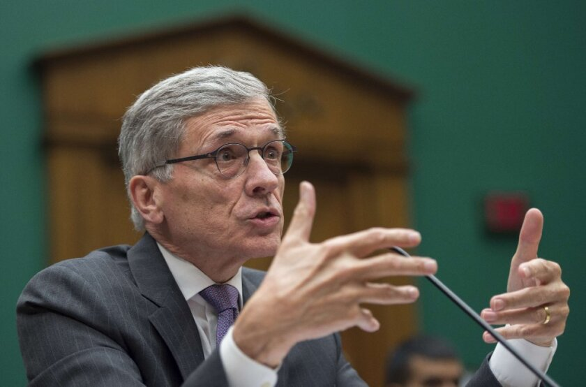 FCC Chairman Tom Wheeler testifying at a House subcommittee hearing.