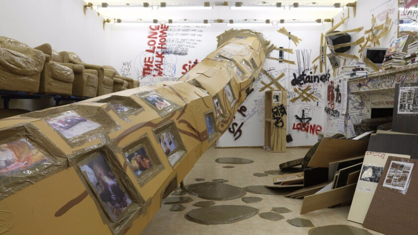"An installation view of Thomas Hirschhorn's ""Stand-alone"" at Arndt & Partner Gallery in Berlin."