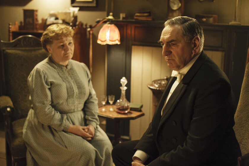 Mrs. Patmore (Lesley Nicol) has an awkward conversation with Mr. Carson (Jim Carter) about his relationship with Mrs. Hughes.