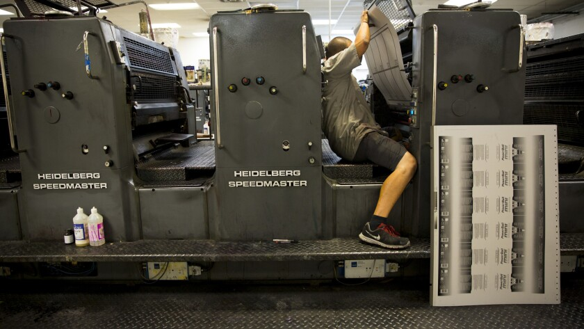 CITY OF INDUSTRY, CA -- MAY 20, 2013-- Printing plates are switched inside Stoughton Printing Co., i