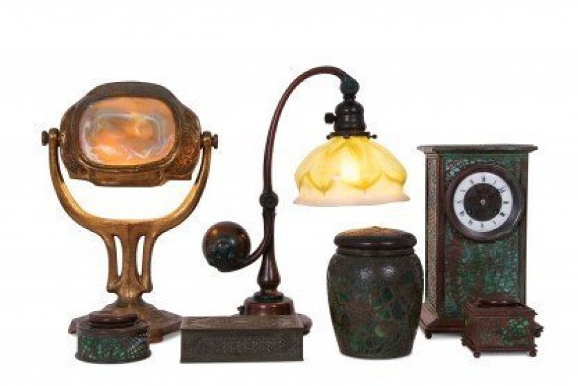 An assortment of Tiffany Studios desk lamps and accessories in the collection of the late David Copley. Courtesy