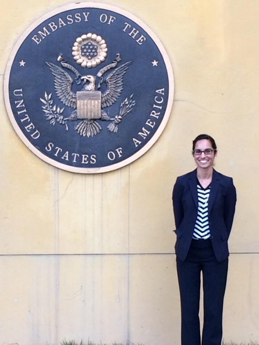 Farhat Popal at the U.S. Embassy in Afghanistan
