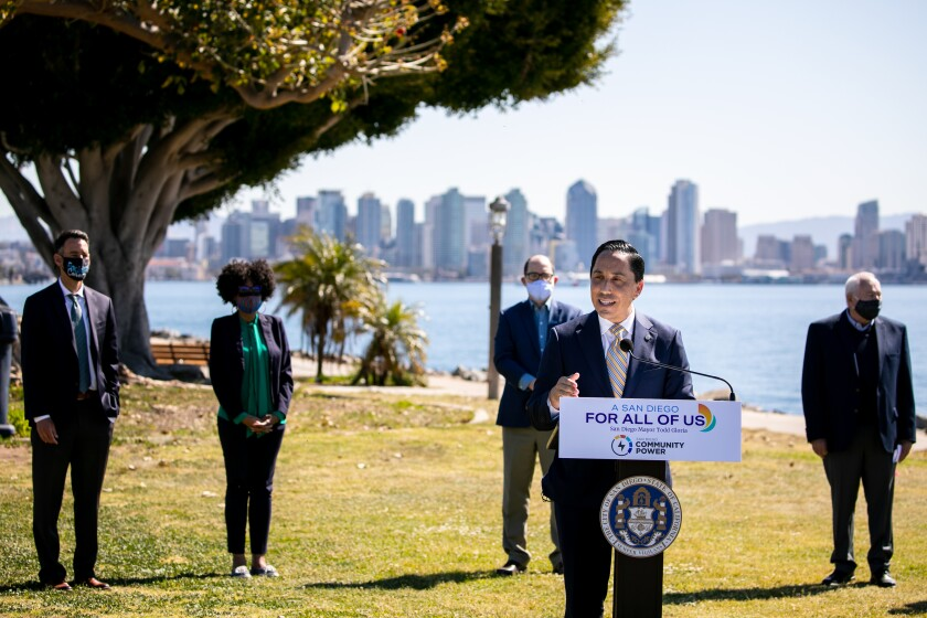 San Diego Mayor Todd Gloria speaks at a news conference announcing the rollout of San Diego Community Power.
