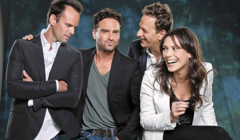 """Emmy acting nominees, from left, Walton Goggins (""""Justified""""), Johnny Galecki (""""The Big Bang Theory""""), Josh Charles (""""The Good Wife""""), and Michelle Forbes (""""The Killing"""")."""