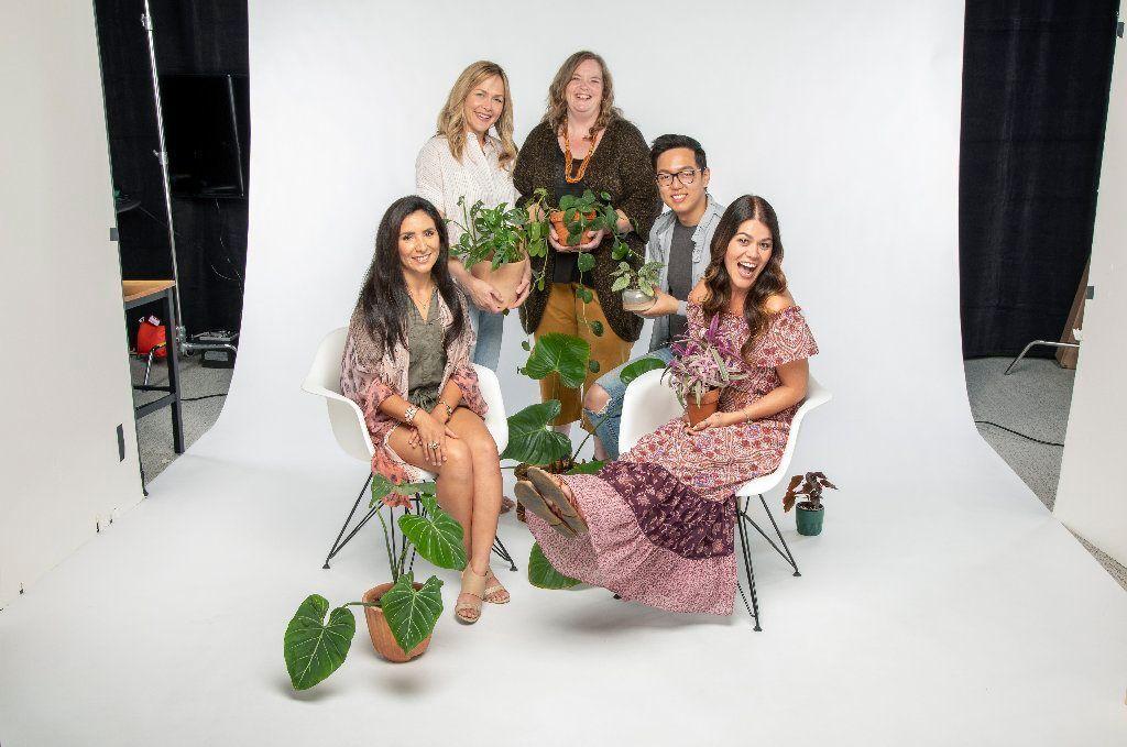 These gardening influencers have more than 300,000 Instagram followers among them. From left, Darlene Zavala (@darlinggreenthings), Christine Kelso (@workhardplanthard), Danae Horst (@foliacollective), Brandon Jeon (@mrplantdad) and Jennifer Tao (@jenssuccs).