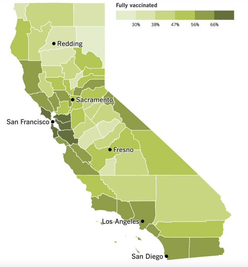 A map showing California's vaccination progress, by county.
