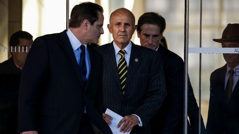 Former Los Angeles County Sheriff Lee Baca in December after jurors were unable to reach a verdict in his trial on charges he obstructed an FBI investigation into county jails.