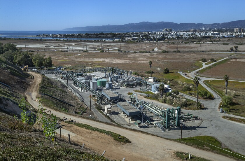 Southern California Gas Co.'s Playa del Rey storage facility, with the Ballona Wetlands in the background.