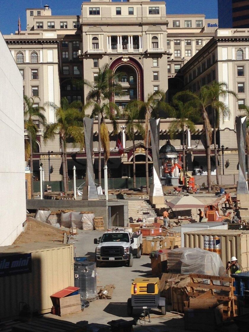 The 1910 Horton Plaza fountain is being restored along with the landscaping plan that was implemented at that time and last restored in 1985.